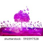 watercolor nature tree and... | Shutterstock .eps vector #593597528