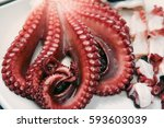 munei heo is octopus sashimi ... | Shutterstock . vector #593603039