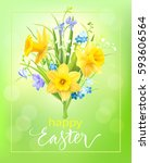 easter background with spring... | Shutterstock .eps vector #593606564