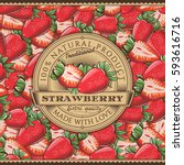 vintage strawberry label on... | Shutterstock .eps vector #593616716