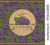 vintage blackberry label on... | Shutterstock .eps vector #593616800