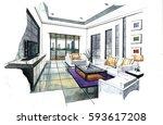 interior perspective sketch... | Shutterstock . vector #593617208