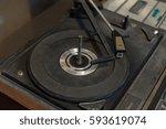 vintage gramophone closeup | Shutterstock . vector #593619074