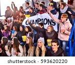 fans cheering in stadium... | Shutterstock . vector #593620220