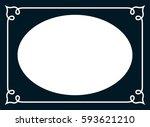 oval photo frame border passe... | Shutterstock .eps vector #593621210