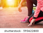 fitness woman training and... | Shutterstock . vector #593622800