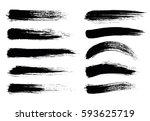 set of black paint  ink brush... | Shutterstock .eps vector #593625719