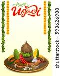 happy ugadi lettering text. set ... | Shutterstock .eps vector #593626988