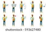 young african american builder... | Shutterstock .eps vector #593627480