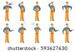 african builder with arm out in ... | Shutterstock .eps vector #593627630