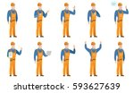 happy african builder showing... | Shutterstock .eps vector #593627639
