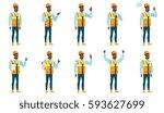 african american builder waving ... | Shutterstock .eps vector #593627699