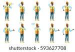 african american builder... | Shutterstock .eps vector #593627708