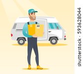 caucasian delivery courier... | Shutterstock .eps vector #593628044