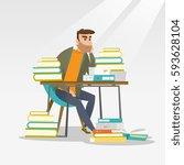 caucasian annoyed student... | Shutterstock .eps vector #593628104