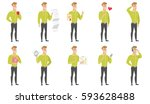 caucasian businessman showing... | Shutterstock .eps vector #593628488