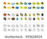 set of icons in different style ... | Shutterstock .eps vector #593628524