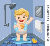 a baby boy taking a shower in... | Shutterstock .eps vector #593635496