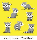 cute raccoon poses cartoon... | Shutterstock .eps vector #593638763