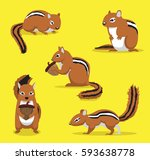 Cute Chipmunk Poses Cartoon...