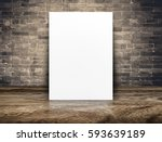 blank white paper poster at... | Shutterstock . vector #593639189