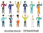 young caucasian policeman... | Shutterstock .eps vector #593640968