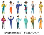 young caucasian confident... | Shutterstock .eps vector #593640974