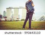 happy traveler man in the... | Shutterstock . vector #593643110