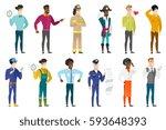 young asian farmer showing... | Shutterstock .eps vector #593648393