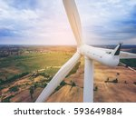 wind turbine from aerial view   ... | Shutterstock . vector #593649884