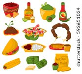 mexican traditional food with... | Shutterstock .eps vector #593651024