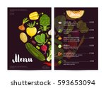 vegan cafe food menu design... | Shutterstock .eps vector #593653094