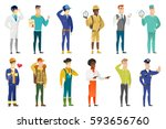 security man showing stop hand... | Shutterstock .eps vector #593656760