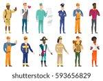 confused caucasian traveler... | Shutterstock .eps vector #593656829