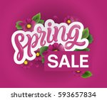 spring sale background with... | Shutterstock .eps vector #593657834