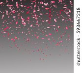 red and pink confetti... | Shutterstock .eps vector #593667218