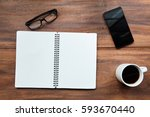 blank note book  glasses and... | Shutterstock . vector #593670440