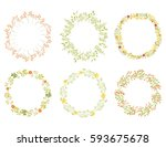 vector vintage wreaths with... | Shutterstock .eps vector #593675678