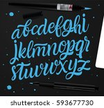 vector set with handwritten abc ... | Shutterstock .eps vector #593677730