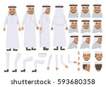 arab man character creation set.... | Shutterstock .eps vector #593680358