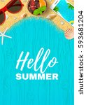 beautiful summer vacation... | Shutterstock .eps vector #593681204