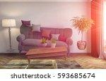 zero gravity sofa hovering in... | Shutterstock . vector #593685674