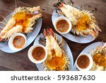 multiple grill river prawns... | Shutterstock . vector #593687630