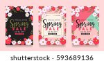 set of spring sale background... | Shutterstock .eps vector #593689136