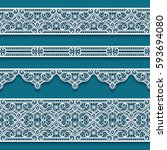 vector set of lace ribbons ... | Shutterstock .eps vector #593694080