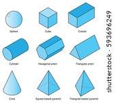 3d shape set isolated on white...   Shutterstock .eps vector #593696249