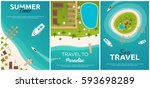 set of banners colorful travel...   Shutterstock .eps vector #593698289