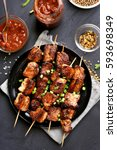 homemade grilled pork skewers ... | Shutterstock . vector #593698349