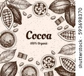 vector frame with cocoa. hand... | Shutterstock .eps vector #593698370