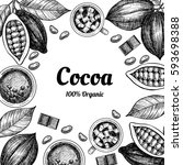 vector frame with cocoa. hand... | Shutterstock .eps vector #593698388